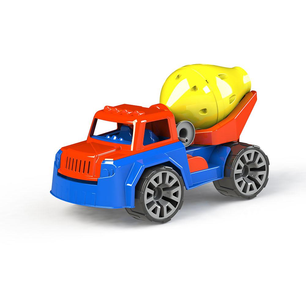 Tovornjak za mešanje betona s figuro